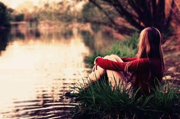 meditating_woman by lake